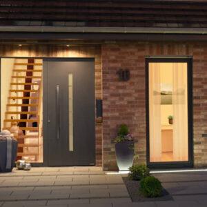 grey front door on modern house