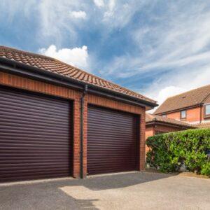 two brown roller garage doors