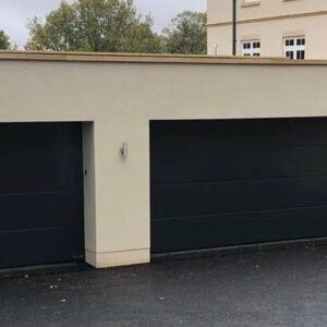 two large garage doors