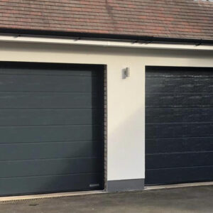 two sectional garage doors